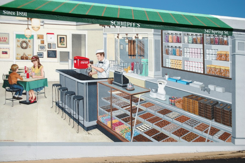 Schimpff's Candy Store - one of 12 floodwall murals by Louisiana artist Robert Dafford