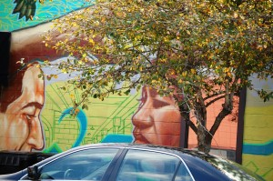 A detail of the Chappell Mural (and yes, I strategically took this so the tree would look like hair!)